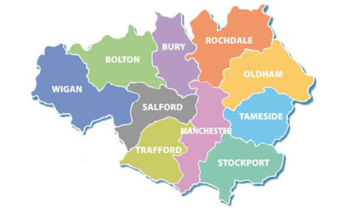 Map of Greater Manchester local authorities