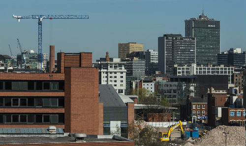 Skyline of Manchester with building works going on