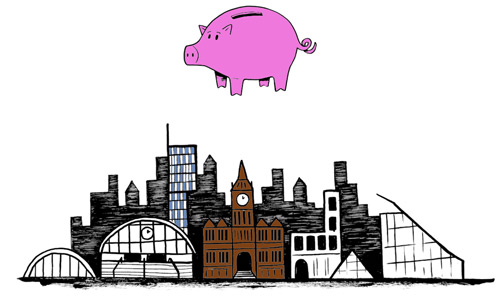 Animation of a giant pig floating over Manchester