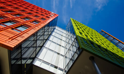 Colourful, modern architecture.