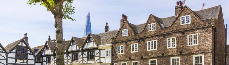 The Shard, London juxtaposed with older buildings
