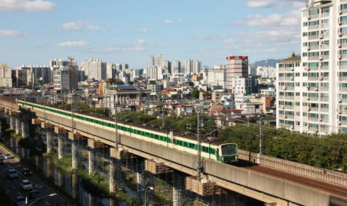 Photograph of the South Korea city train travelling through Seoul.