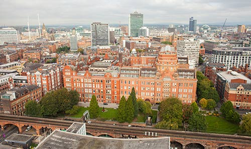 Ariel image of The University of Manchester north campus