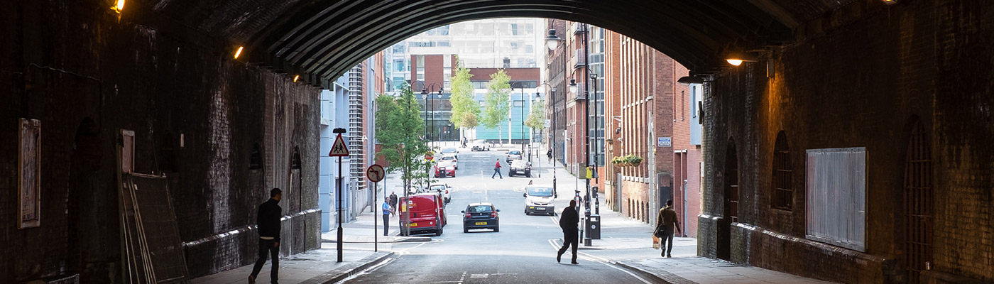Arch and street in Manchester city centre