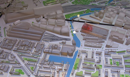 model of central London streets and train station