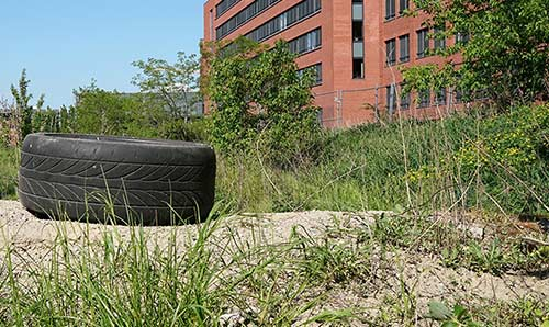 Tyre on a brownfield site