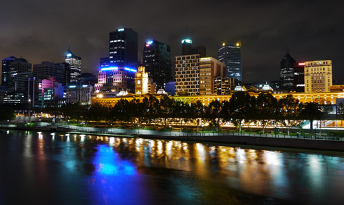 Photograph of the Melbourne skyline at night